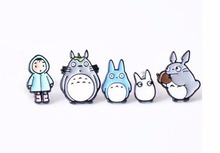 Free Shipping Cartoon Cute Totoro Metal Brooch Pins Button Pins Jeans Bag Decoration Brooches Fashion Jewelry Gift Wholesale