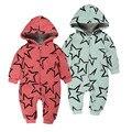 Bebê recém-nascido Menino Roupas de Inverno quente Espessamento Macacão de Bebê de algodão estrela de cinco pontas-padrão Do Bebê do Inverno Da Menina Macacão Com Capuz