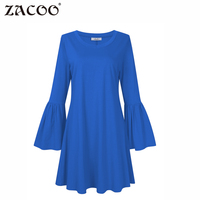 ZACOO Vrouwen Plus Size Lange Bell Mouwen Casual Loose Fit T-Shirt Mini Jurk V-hals lente Herfst jurk zk40