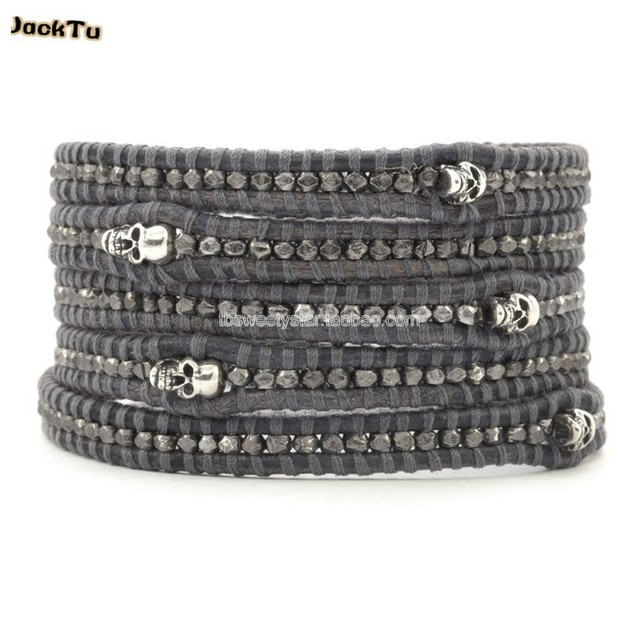 2017  hot wholesale gunmetal nuggets skull  leather wrap bracelet