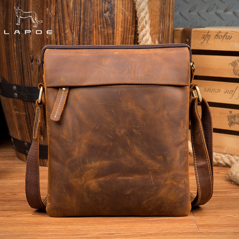 Handbags Cowhide Genuine Leather Men Bags Vintage Men Shoulder Crossbody Bags Ipaid Messenger Bag Man Leather Men's Travel Bag vintage fashion men big travel bags made by genuine leather men sports hiking messenger bags cowhide shoulder bags for men 2016