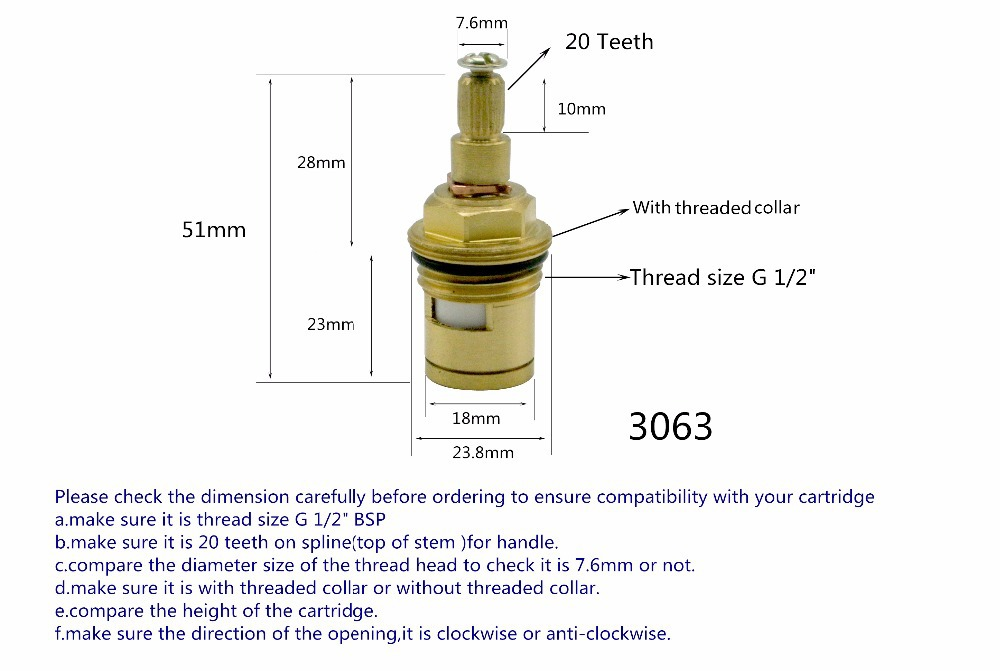 Brass Ceramic Disc Tap Valve Cartridge 1 2 Quot Hot Cold Replacement 20 Spline For Kitchen Basin
