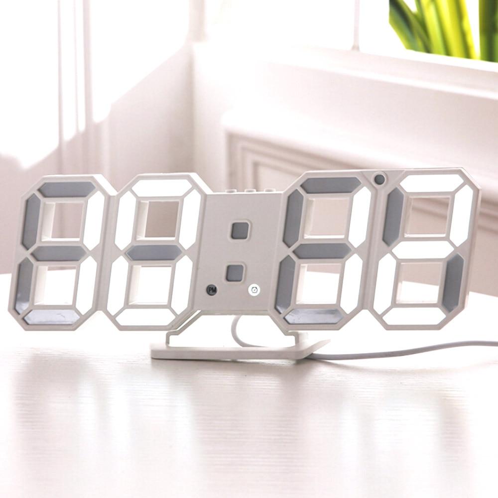 3D LED Digital Wall Clock Nightlight Modern Table Desktop