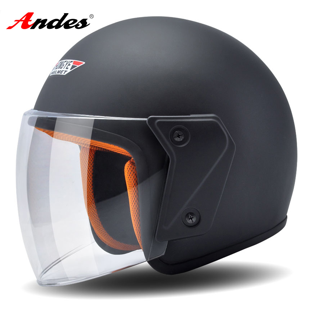 Andes Motorcycle Helmet 3/4 Open Face Moto Helmets Scooter Unisex Matte Black Biker Motocross Casco Moto with Anti-fog Visor цены