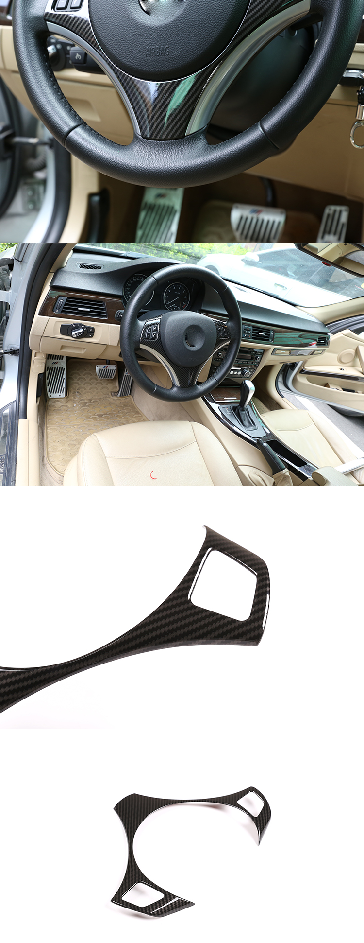 Carbon Fiber Steering wheel button sticker Frame For BMW E90 3 Series 05-12 SUN