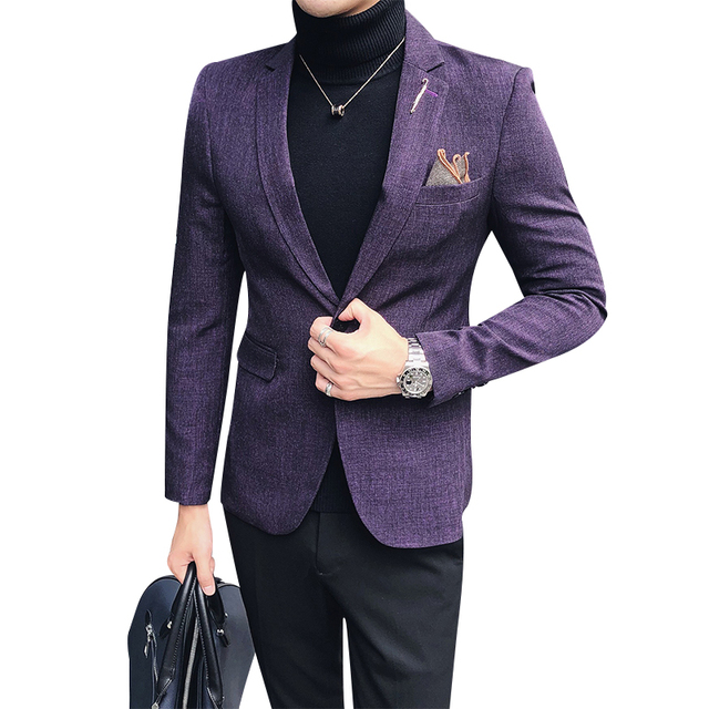 2018 autumn/winter new British style casual business suit Korean style slim fit and a button hair stylist men's suit jacket