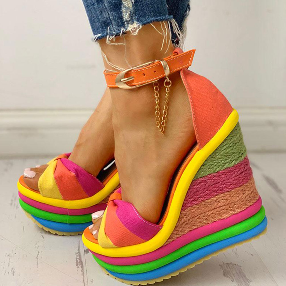 FINDHER Rainbow Women Sandals Espadrille Wedge High Heel Shoe Woman 2019 Ankle Strap Open Toe Shoes Party Platform Sandals