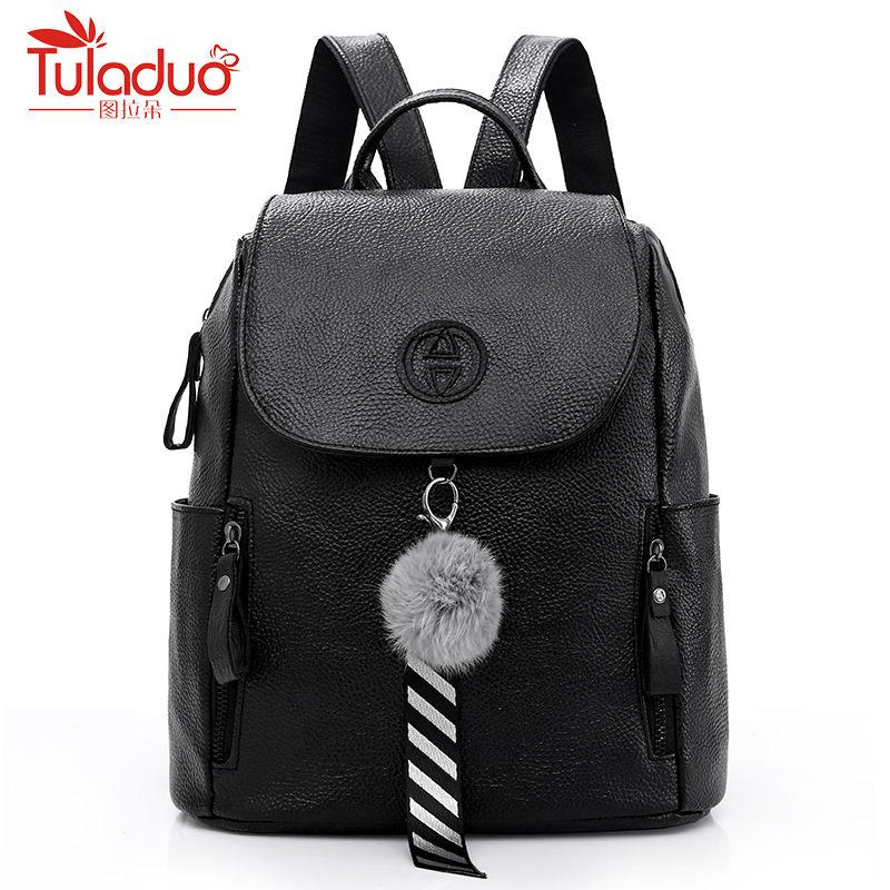 Модные меховые Для женщин рюкзак Повседневное сумки для подростков для девочек школьные сумки Высокое качество из искусственной кожи Для ж...