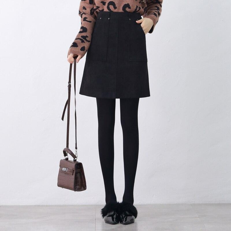 Хит продаж, новейшая замшевая юбка из оленьей кожи, длинная трапециевидная юбка средней длины, женская новая замшевая юбка с высокой талией,