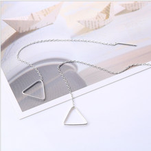 Tassels Earrings Dangles Standard 925 Silver Jewelry Women School Girls Gifts Triangle Hoop Long Cross Link Chain Fashion 1 Pair(China)