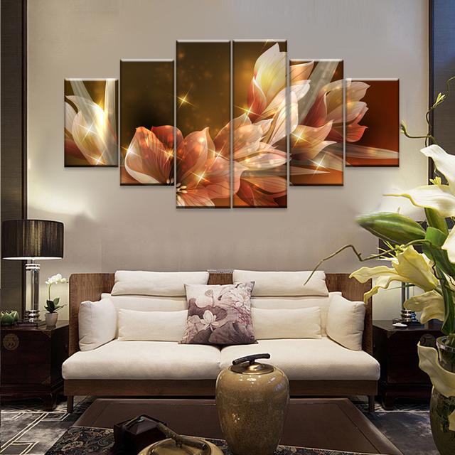 Date  Panneau Peinture Murale Pour Salon Shinning Belle Fleurs Sous
