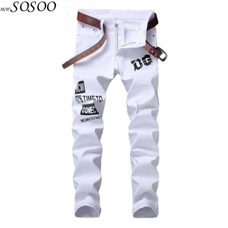 summer new style mens brand jeans cotton white letter printed designer jeans men high quality Korean style men pants jeans #5606 2017 tide brand off white winter new men s wear striped rose embroidery denim pants men jeans jogger pants high quality