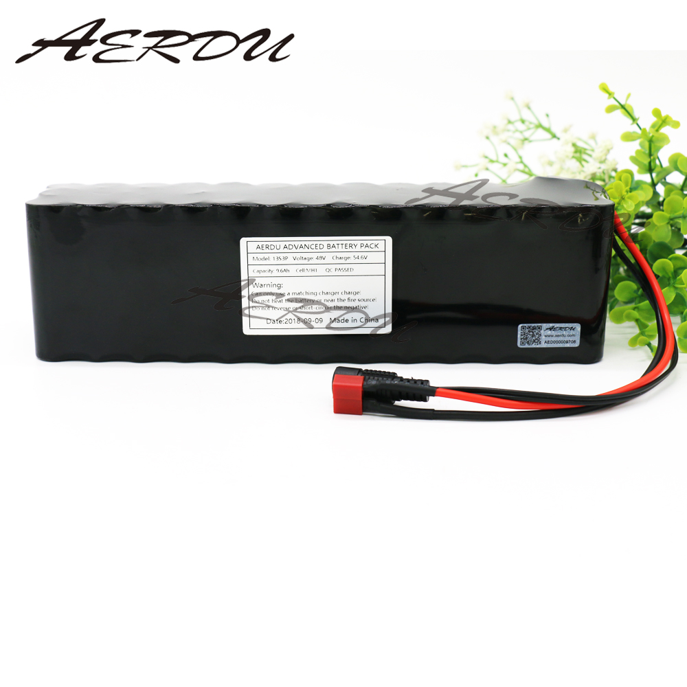 AERDU 13S3P 48 V 9.6Ah pour LG MH1 54.6 v batterie Lithium ion avec 20A BMS adapté pour appareil moteur Scooter ebike etc.