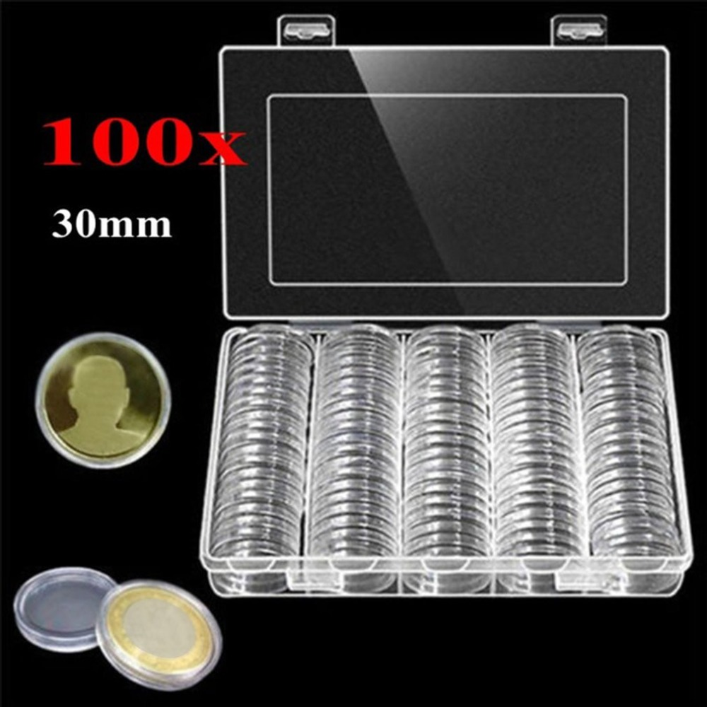 Coin Storage Box 30mm Clear Round Boxed Coin Holder Plastic Capsules Display Cases Organizer for Coin Collection Supplies