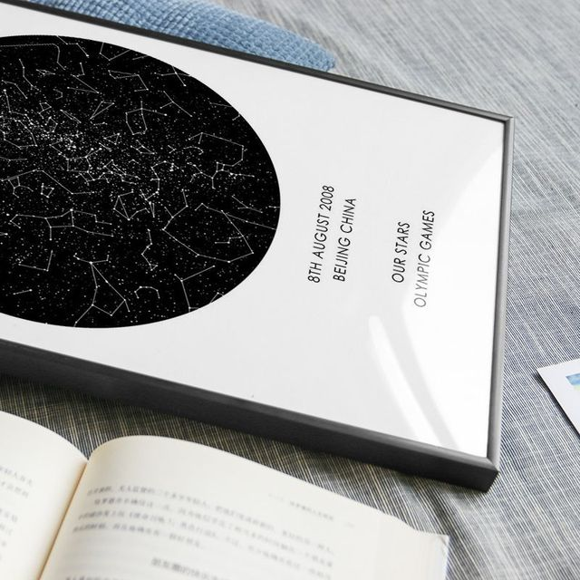 US $15 12 44% OFF|custom night sky print framed star map constellations  engagement digital poster Personalized Anniversary painting gift for her-in