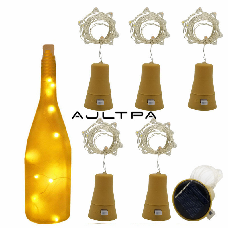 100pcs 10/15/20/30 Leds Glass Wine Solar LED String Light Christmas Party Decoration Cork Shaped Wine Bottle Stopper Light Lamp