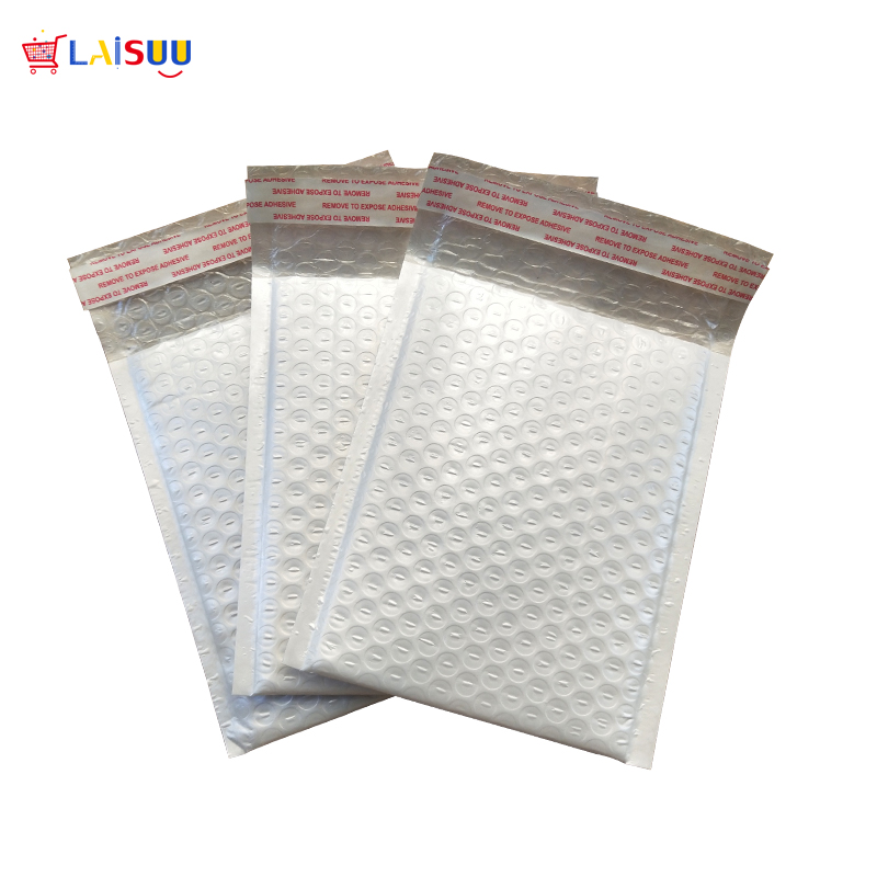 Thickened Pearl White Poly Bubble Mail Envelope Mailing Bag / Jiffy Bag Self-sealing Anti-static