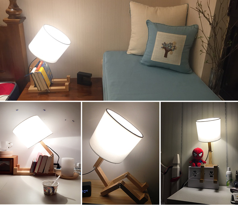 Nordice Modern Creative Gifts Foldable Robot Desk Table Lamps Wooden Base Table Lamp Bedside Reading Desk Lamp Home Decor Light Fixture (14)