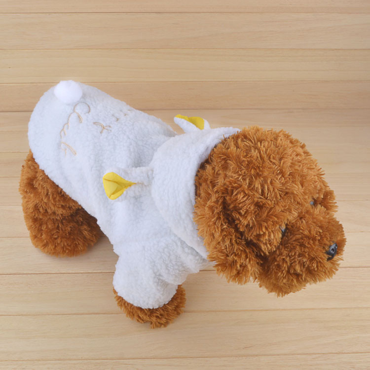 Fashion Pet Costume Samll Dog Clothes Coat White Sheep Puppy Hoodie Chihuahua Clothing In Winter Warm Apparel Size XS S M L XL 1163