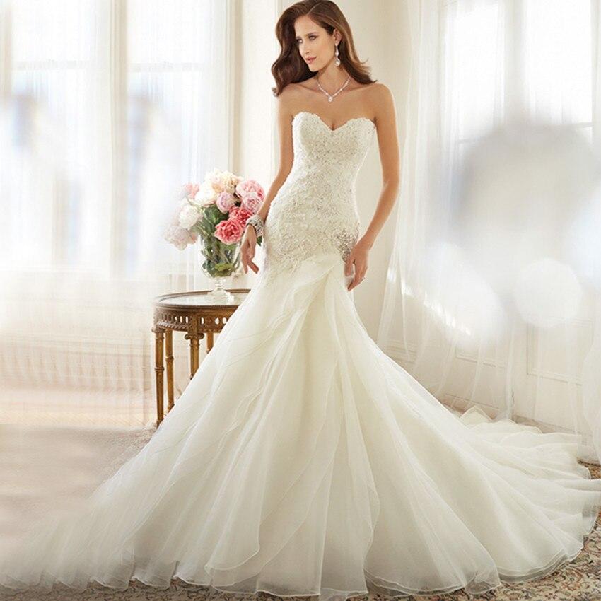 Romantic Lace Fluffy Type Organza Mermaid Wedding Dress 2017 ...