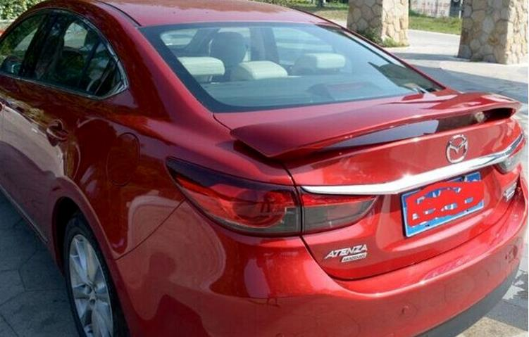 Clip style ABS Primer unpainted Car Rear Trunk Spoiler Wing For Mazda 6 ATENZA or Mazda 3 Axela 2014-2017, with third stop light