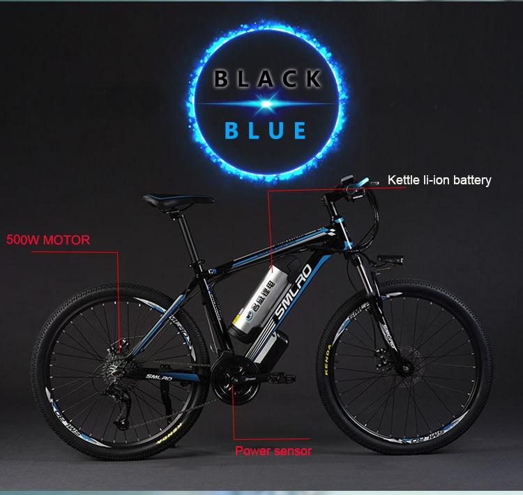 HTB1e8UtlkUmBKNjSZFOq6yb2XXay - 26inch electrical mountain bicycle aluminum alloy ebike 27velocity e-mtb 48V lithium battery 500W motor  Hybrid bicycle
