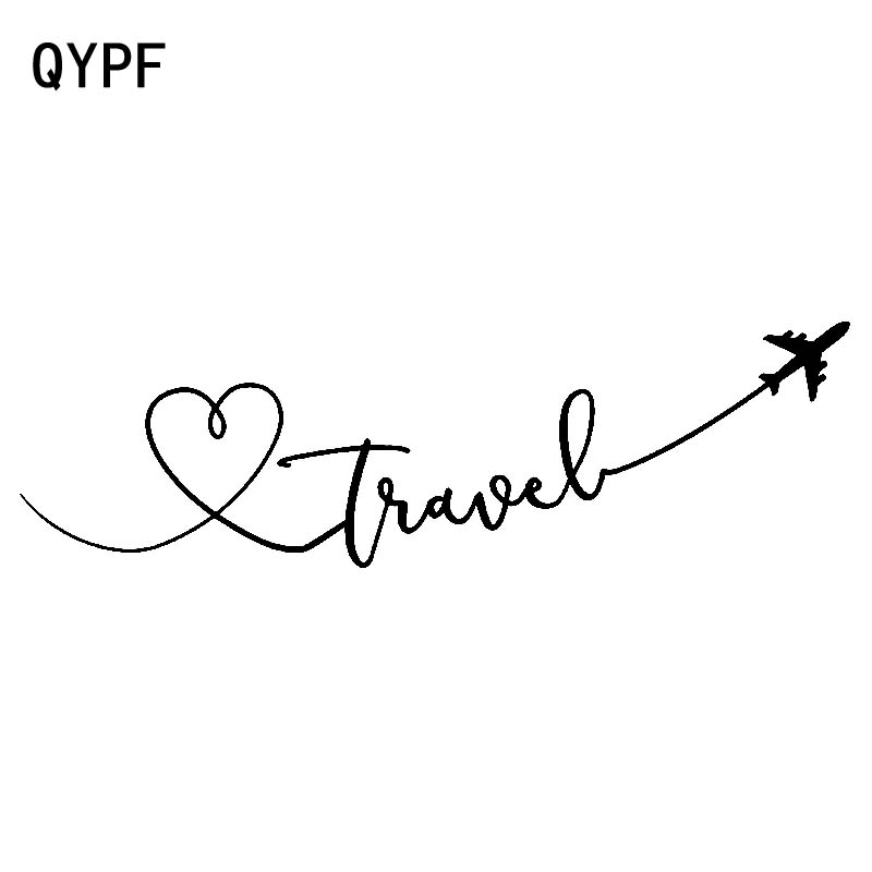 QYPF 18.9cm*5.5cm Cartoon Interesting Love Travel Aeroplane Delicate Vinyl Car Sticker Decal Special Pattern C18-0719