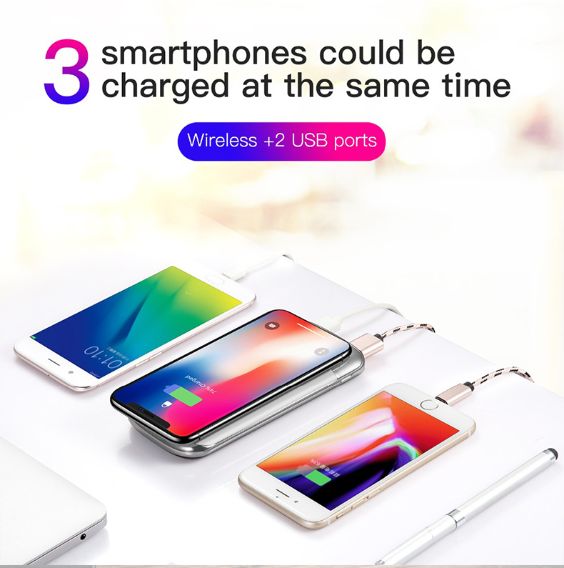 30000mah Power Bank External Battery Bank Built-in Wireless Charger Powerbank Portable QI Wireless Charger for iPhone XS Max 8 4