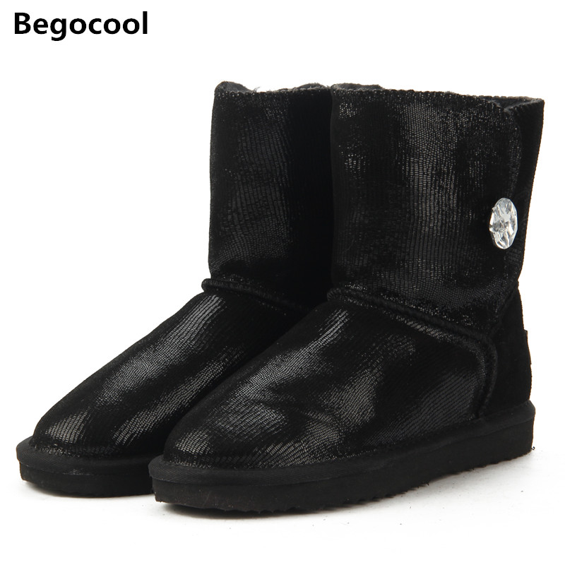 2018 Australia Classic New Top Quality Genuine Cowhide Leather Snow Boots Fur Winter Boots Waterproof Warm UG Boots Women Boots 2015 winter new arrival australia classic warm boots genuine leather handmade rhinestones diamond 3d flower women snow boots