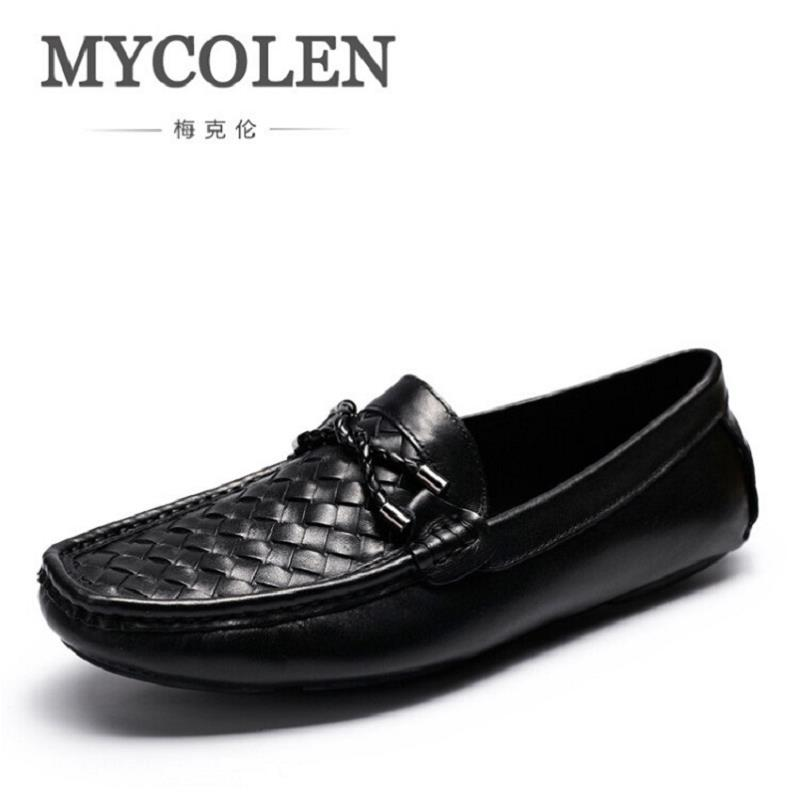 MYCOLEN New Casual Shoes Spring Autumn Men Loafers 2017 Slip On Fashion Loafer Leather Moccasins Men Shoes sapatos homens dekabr new 2018 men cow suede loafers spring autumn genuine leather driving moccasins slip on men casual shoes big size 38 46