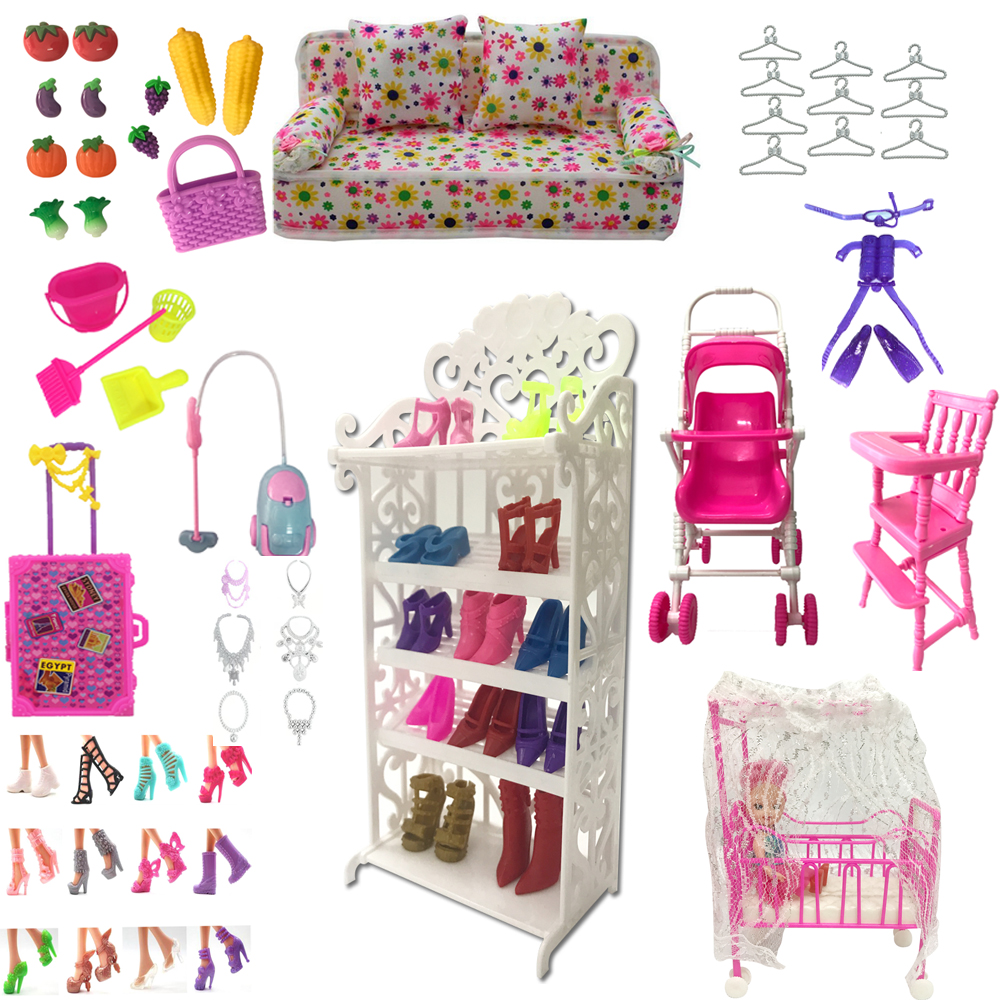 NK Mix  Doll  Plastic Furniture  Mini Play Toy Shoes  Bag Hanger For Barbie Doll  Accessories  For Kelly DIY Toys Play House  JJ