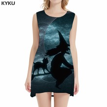 KYKU Halloween Dress Women Party Print Witch Magic 3d Dresses Cat Space Casual Womens Clothing Summer Sleeveless Tunic New