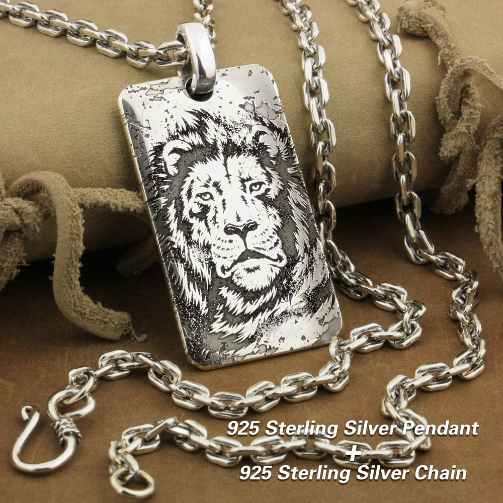 Deep Engraved 999 Sterling Silver Tiger King Sharp Claws Biker Pendant 9X026SA
