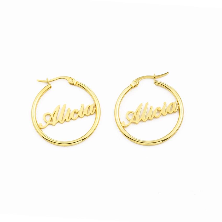 Stainless Steel Big Circle Round Custom Personalized Nameplate Name Earring for Women Oorbellen Voor Vrouwen Birdesmaid Gift