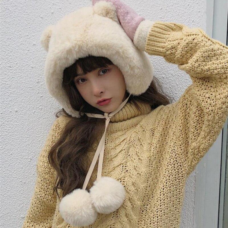 HT2210 Women Winter Hats Cute Ear Fleece Fur Earflap Caps Solid Plain Women Ski Caps Female Russian Hats Ladies Trapper Hats