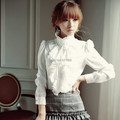 New Ladies bowtie OL Shirt Longos da luva das Mulheres Gola Chiffon Camisa Tops Blusa Ruffles Ondulado