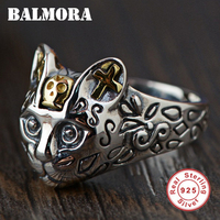 BALMORA 100 Real 925 Sterling Silver Jewelry Cute Cat Finger Rings For Women Men Party Gifts