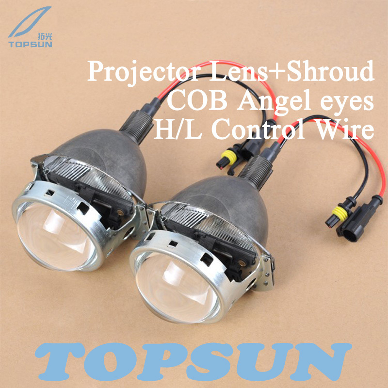 3.0 Bifocal Q5 HID Projector Lens for H1 H4 H7 H11 9005 9006 with 35W Bulbs, Shroud, COB Angel Eyes, High/Low Beam Control Wire gztophid 3 bifocal q5 projector lens 35w hid bulb shroud and high low beam control wire for h1 h4 h7 h11 9005 9006