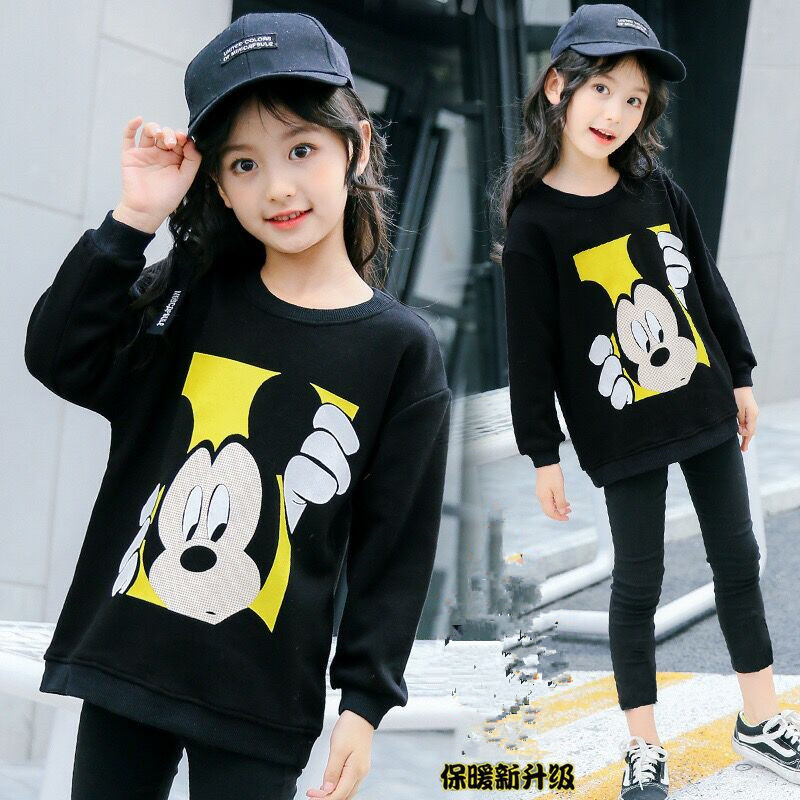 Mickey Mouse Sweater Children's Mickey Sweater Girls Knitted Sweater Long Sleeve Sweater Big Children's Pullover Girls Clothes snowflake long sweater