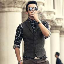 2017 Men New Spring Vintage Suit Vest Men texture Woolen Casual England Style Vests Men Slim Business Dress Suit Vest Gentlemen(China)
