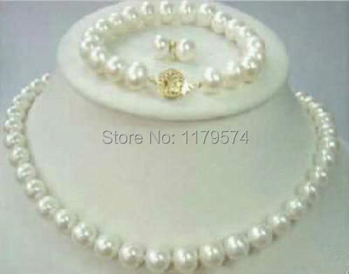 Бесплатная доставка женщина новая мода бесплатная доставка charming10mm Akoya Культивированный Жемчуг Ожерелье Браслет и Серьги набор W00145