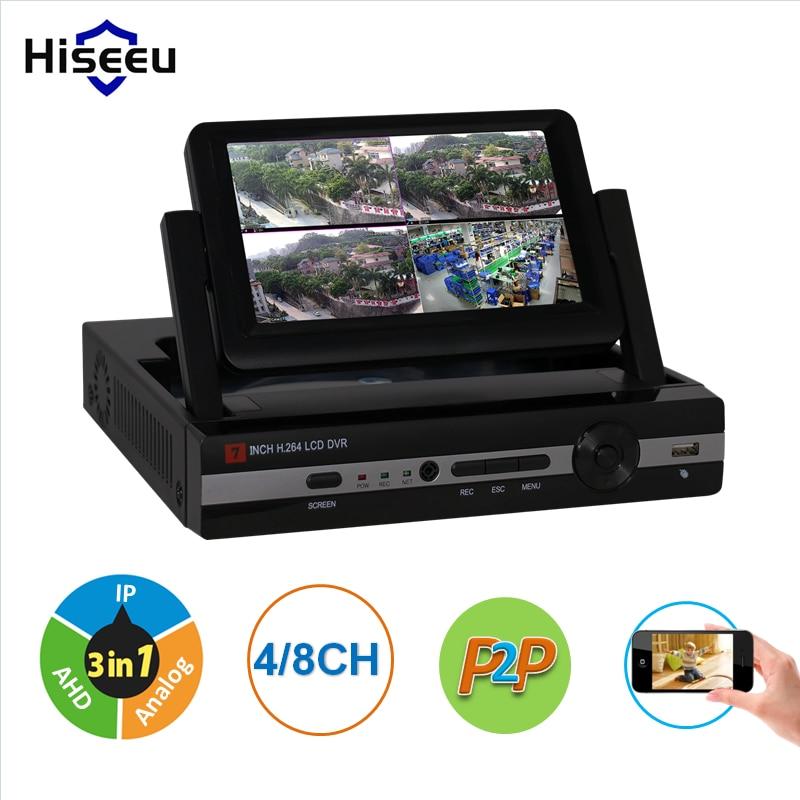 CCTV 4ch 8CH 1080N Digital Video Recorder with 7 LCD Screen Hybrid DVR HVR NVR Home Security System hiseeu