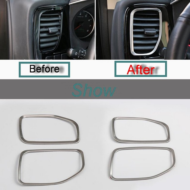 2 Pcs DIY Car Style Stainless Steel Both Sides Dashboard Outlet Cover Case stickers for Mitsubishi Outlander 2013-16 Accessories