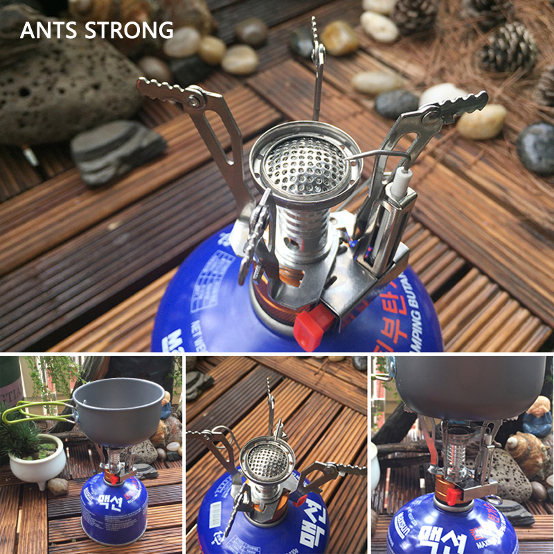 ANTS STRONG Field camping BBQ titanium mini burner/portable outdoor picnic burner folding stove barbecue tools
