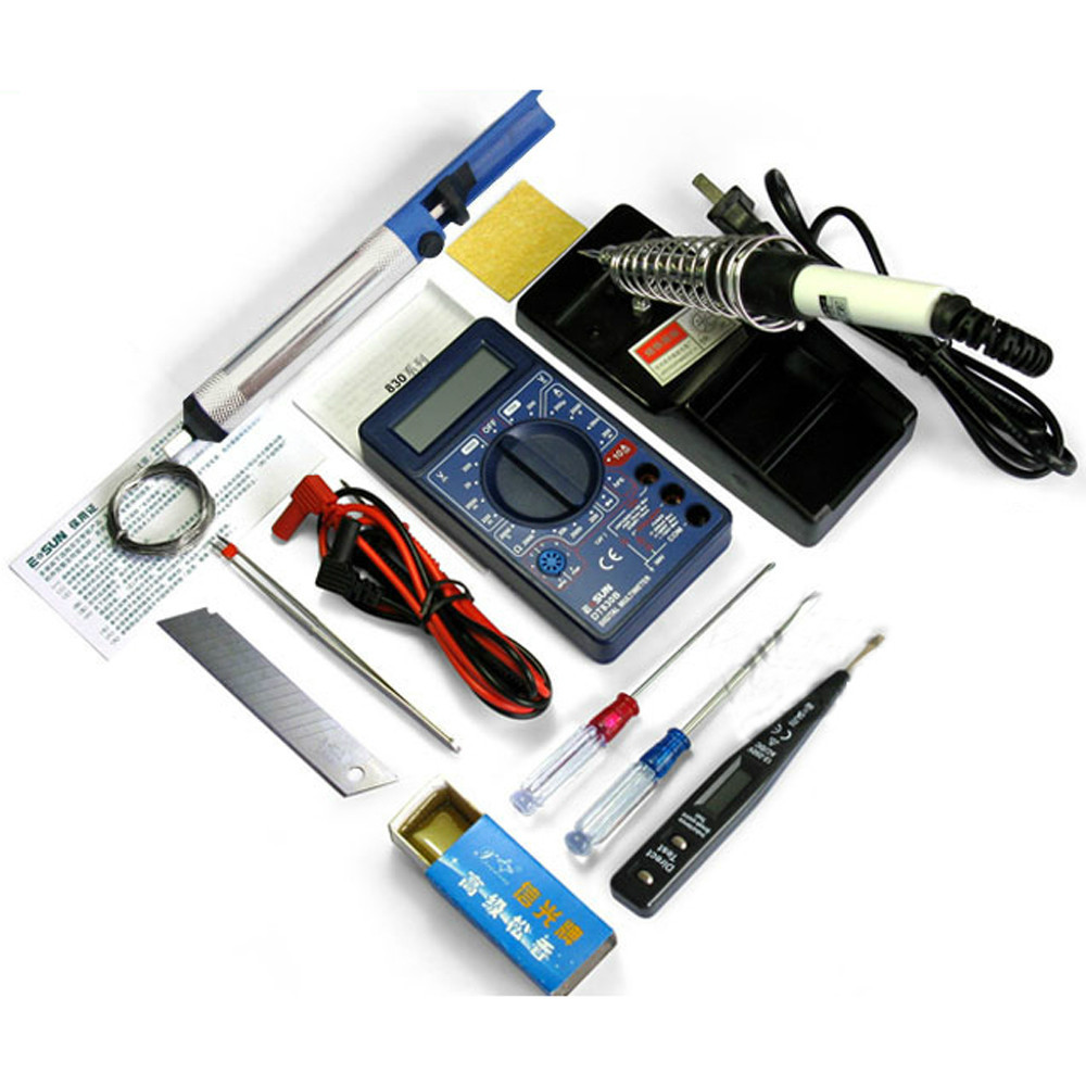 DT830B digital multimeter+220v 30W Solder Iron+electric pencil+other DIY electronic tools kit (12 pcs in 1 package) цена