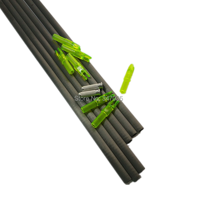 Free shipping 60 pcs spine 340 100% carbon arrow shaft + 60 pcs insert + 60 pcs nock for ID6.2mm shaft archery bow wholesale archery equipment hunting carbon arrow 31 400 spine for takedown bow targeting 50pcs