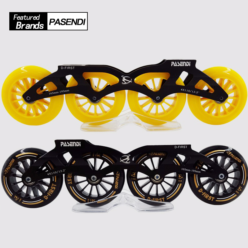 PASENDI D-FIRST Men/Women Professional Inline Speed Roller Skates Skating Frame and Wheels with 90/100/110mm Big Wheels free shipping roller skates frame rocker frame banana frame with wheels 231 mm and 243 mm