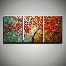 Abstract red decorative cherry tree handmade 3 piece canvas wall art knife oil paintings canvas picture for living room flower
