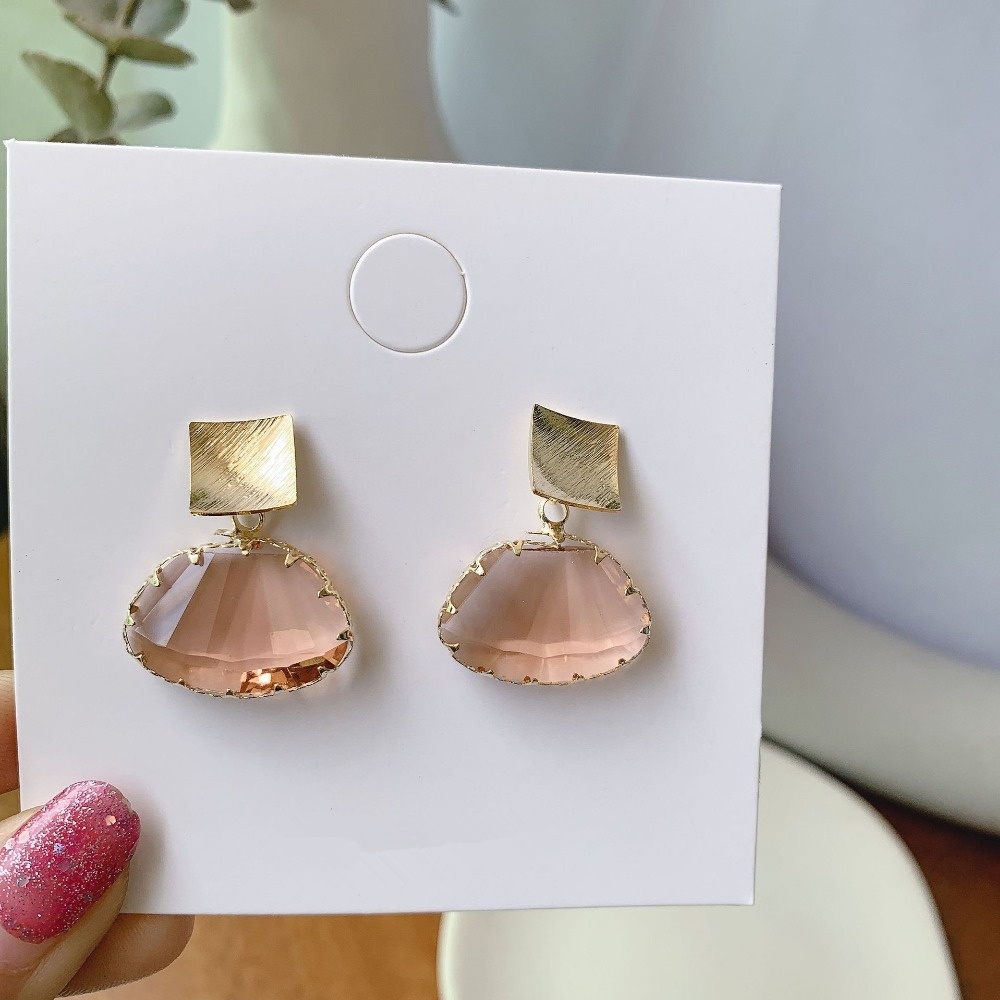 AOMU 19 Simple Transparent Acrylic Metal Square Geometric Fan Dangle Drop Earrings for Women Girl Party Jewelry Accessories 5