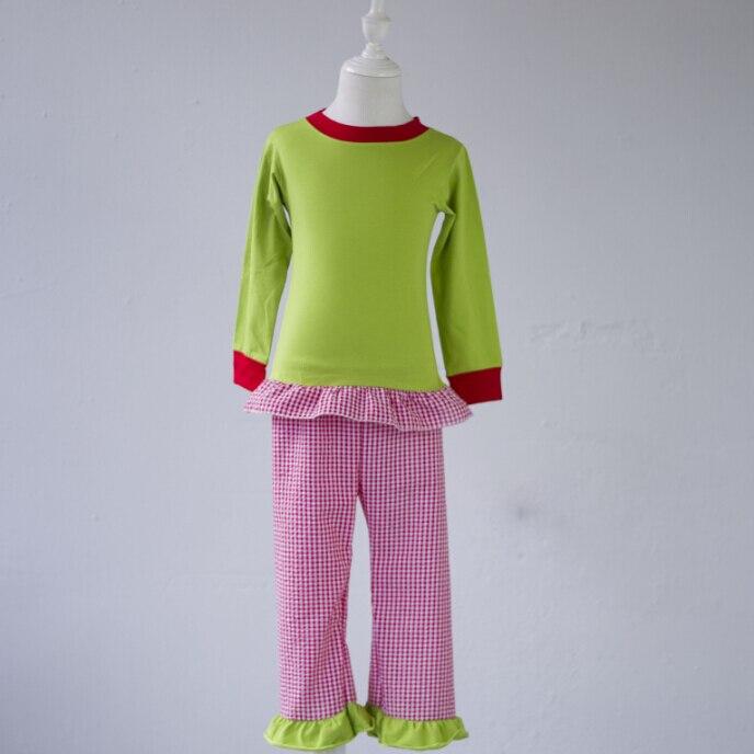 Bébé fille de mode patchwork pyjamas rouge plaid motif pantalon costumes enfants à manches longues confortable coton pyjamas